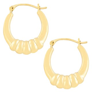 Fremada 10k Yellow Gold Polished Oval Shrimp Hoop Earrings