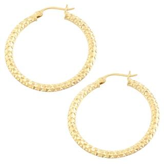Fremada 14k Two-tone Gold Diamond-cut Flat Hoop Earrings