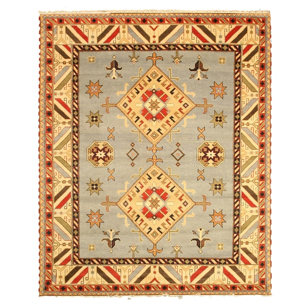 Hand-knotted Wool Blue Traditional Tribal Kazak-10 Rug