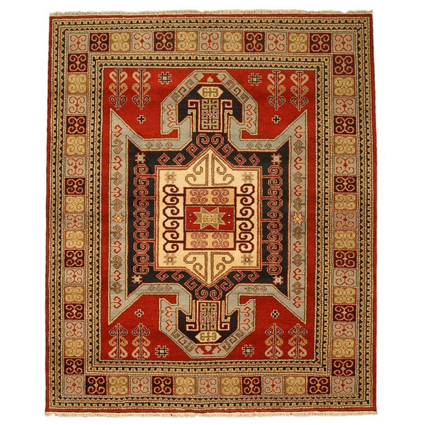 Hand-knotted Wool Red Traditional Tribal Kazak-12 Rug
