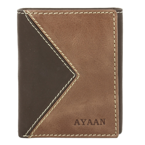 AYAAN Men's Leather Two-tone Tri-fold Wallet