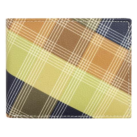 Unico Men's Leather Plaid Pattern Wallet