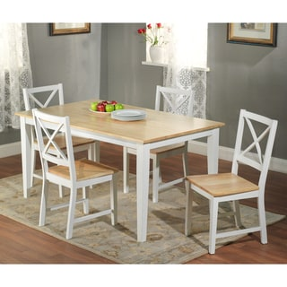 Simple Living Crossback White/ Natural 5-piece Dining Set