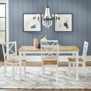 Simple Living Crossback White/ Natural 5 Piece Dining Set