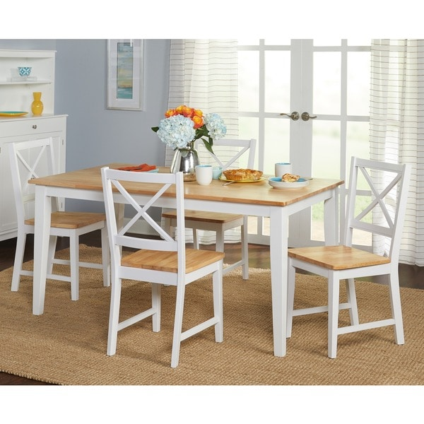 Simple Living Crossback White Natural 5 Piece Dining Set