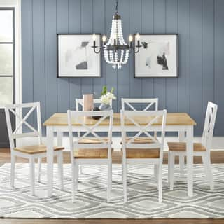 Simple Living Crossback White Natural 7 Piece Dining Set