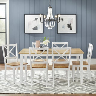 Ordinaire Simple Living Crossback White/ Natural 7 Piece Dining Set