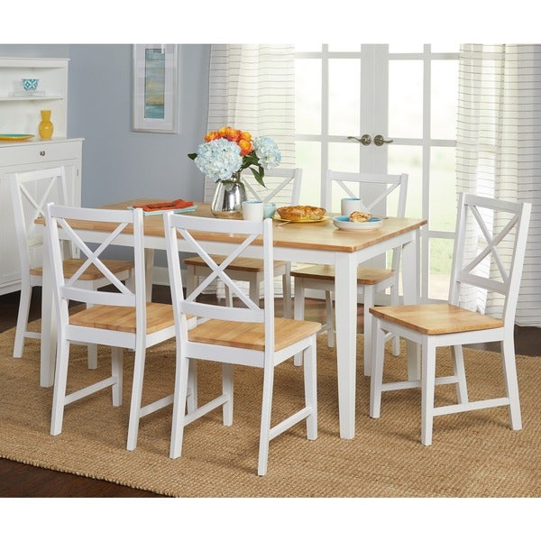Superieur Simple Living Crossback White/ Natural 7 Piece Dining Set