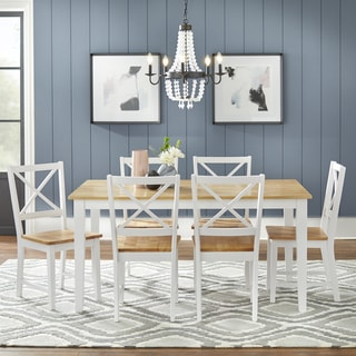 Simple Living Crossback White/ Natural 7-piece Dining Set