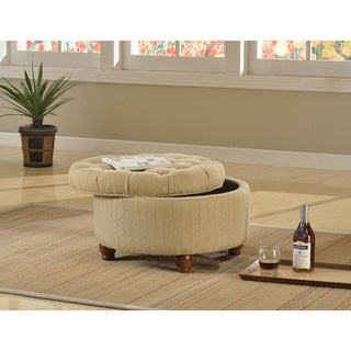 Laurel Creek Florence Tan and Cream Tweed Tufted Storage Ottoman