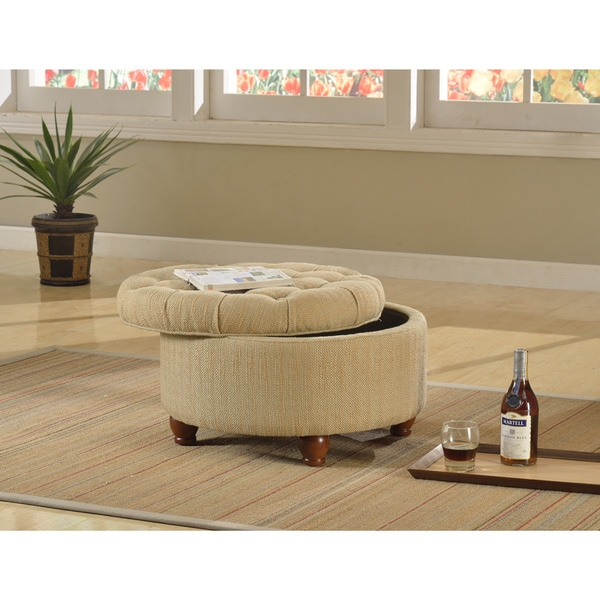 Tan and Cream Tweed Tufted Storage Ottoman Free Shipping Today