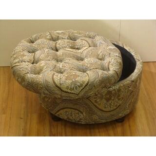 Button Tufted Round Paisley Storage Ottoman