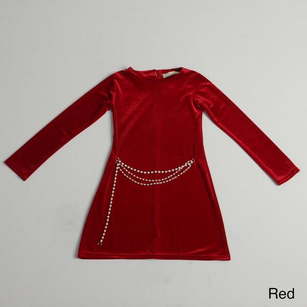 Paulinie Girl's Long Sleeve Velvety Dress