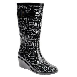 Henry Ferrera Women's Rubber 'Love' Wedge-heel Rain Boots
