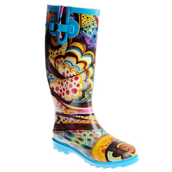 Henry Ferrera Women's Novelty Printed Mid-calf Rubber Rain Boots
