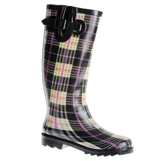 Henry Ferrera Women's Plaid Printed Mid-calf Rubber Rain Boots