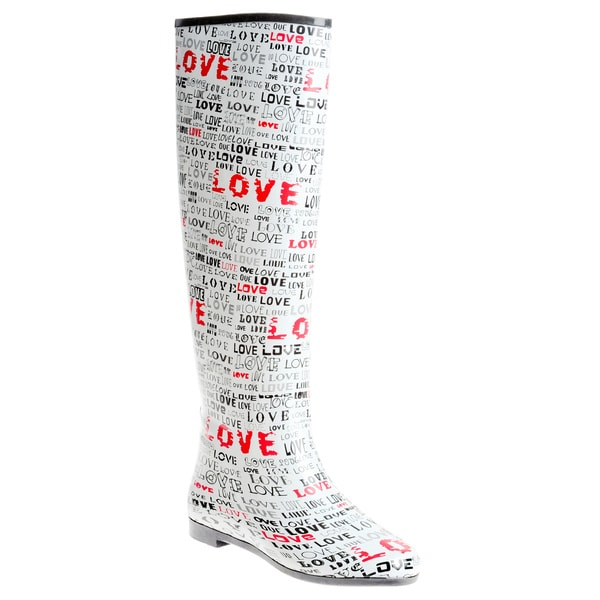 Henry Ferrera Women's Knee-high 'Love' Printed Rubber Rain Boots