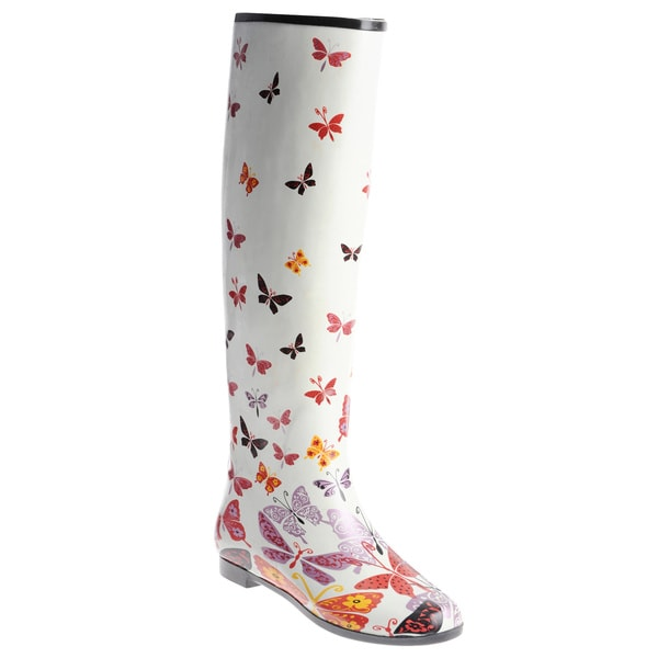 Henry Ferrera Women's Knee-high Butterfly Printed Rubber Rain Boots