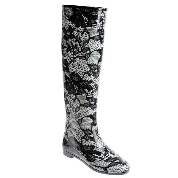 Henry Ferrera Women's Knee-high Floral Lace Printed Rubber Rain Boot