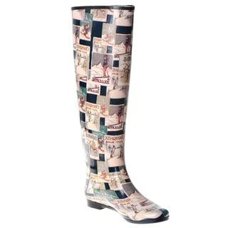 Henry Ferrera Women's Knee-high Vintage Winter Postcard Printed Rubber Rain Boots