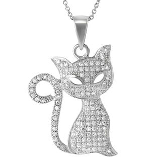 Journee Collection Sterling Silver Cubic Zirconia Cat Necklace