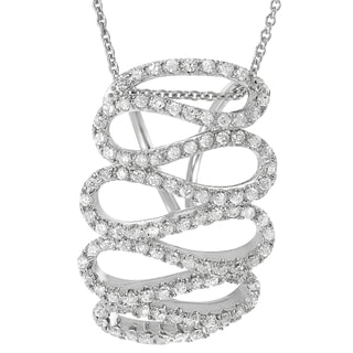 Journee Collection Sterling Silver Cubic Zirconia Round Zig-zag Necklace