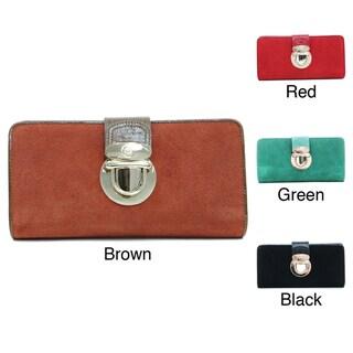 Anais Gvani Women's Leather Gold-tone Buckle Wallet