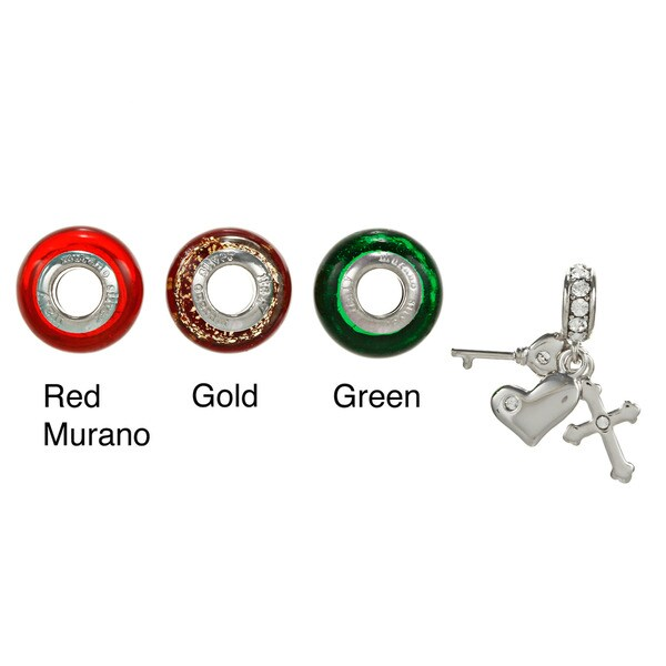 Sterling Essentials Sterling Silver CZ Charm and Murano Glass Bead