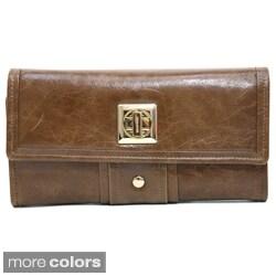 Anais Gvani Women's Leather Gold-Studded Checkbook Wallet