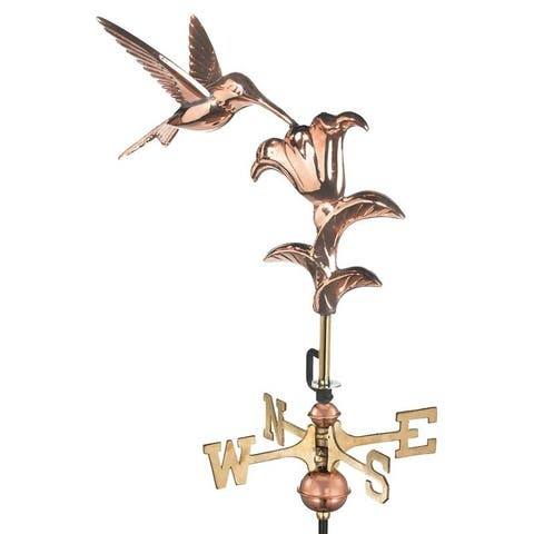 Hummingbird Pure Copper Garden Weathervane with Garden Pole by Good Directions