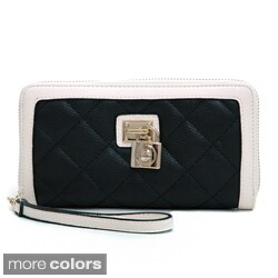 Anais Gvani Women's Quilted Two-Tone Wristlet Wallet