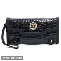 Anais Gvani Women's Embossed Reptile Skin-Style Clutch Wallet with Snap Closure