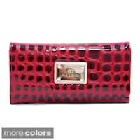 Anais Gvani Women's Embossed Reptile Skin Style Checkbook Wallet
