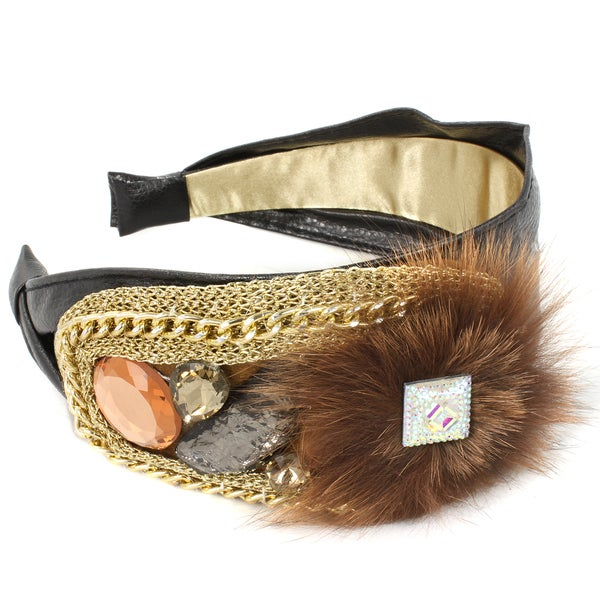 Kate Marie Crystal and Fur Embellished Headband