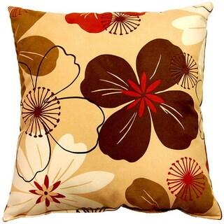 Flower Power Caramel 17-inch Throw Pillows (Set of 2)