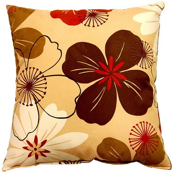 Flower Power Caramel 17-inch Throw Pillows (Set of 2)