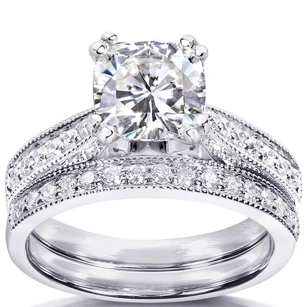 Annello 14k Gold Moissanite and 1/3ct TDW Diamond Bridal Ring Set (G-H, I1-I2)