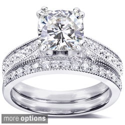 Annello by Kobelli 14k Gold Moissanite and 1/3ct TDW Diamond Bridal Ring Set (G-H, I1-I2)