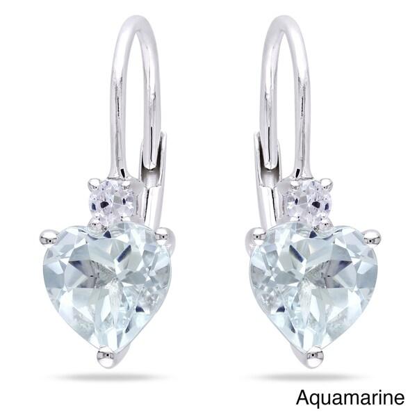 Miadora Silver Gemstone and Created White Sapphire Heart Earrings