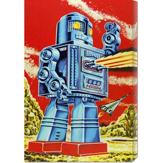 Global Gallery Retrobot 'Robo - Movido a Pilhas' Stretched Canvas Art