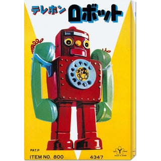 Global Gallery Retrobot 'Telephone Robot' Stretched Canvas Art