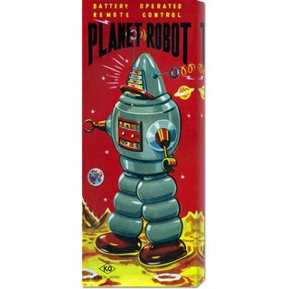 Global Gallery Retrobot 'Planet Robot' Stretched Canvas Art