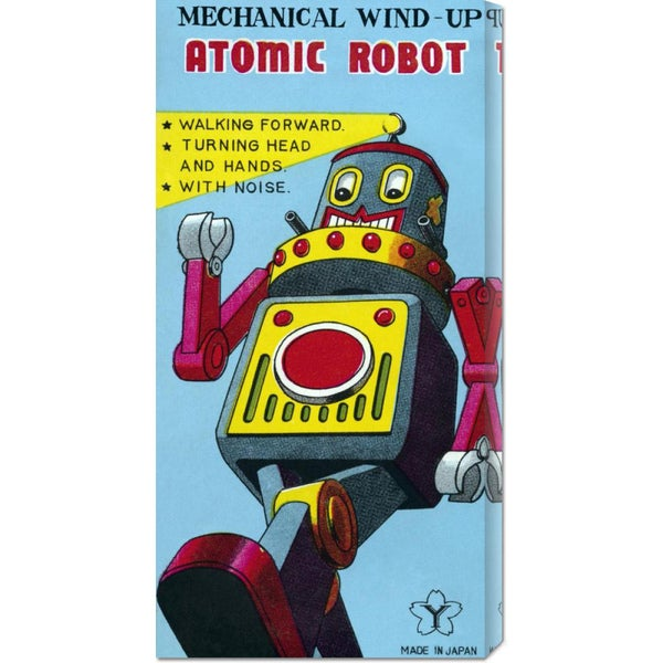 Global Gallery Retrobot 'Mechanical Wind-Up Atomic Robot' Stretched Canvas Art