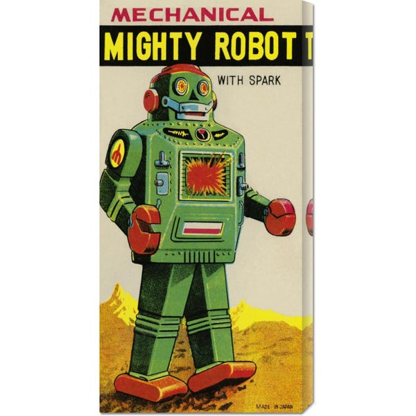 Global Gallery Retrobot 'Mechanical Mighty Robot' Stretched Canvas Art