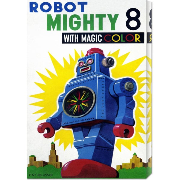 Global Gallery Retrobot 'Robot Mighty 8 with Magic Color' Stretched Canvas Art