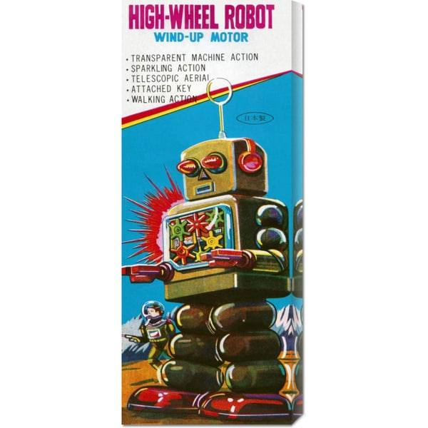 Global Gallery Retrobot 'High-Wheeled Robot' Stretched Canvas Art