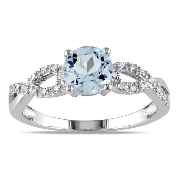 Miadora 10k Gold Gemstone and 1/10ct TDW Diamond Infinity Ring (G-H, I1-I2)