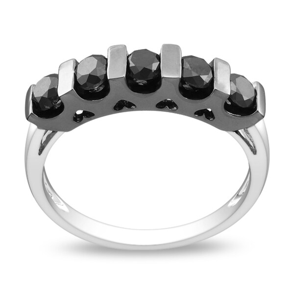 Miadora Sterling Silver 1ct TDW Channel-setting Black Diamond Ring