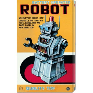 Global Gallery Retrobot 'Battery Operated Robot' Stretched Canvas Art