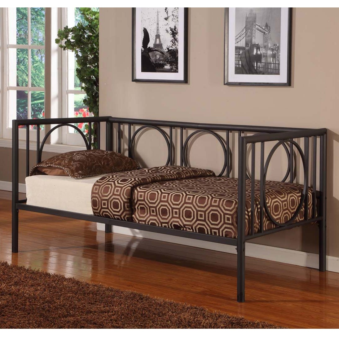 K&B DB001 Black Finish Day Bed (/), Size Twin